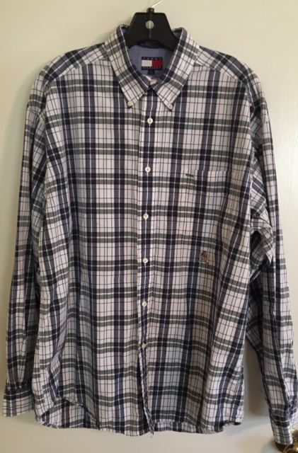 TOMMY HILFIGER Mens Shirt Size L Blue White Plaid Button Down Long Sleeve | eBay