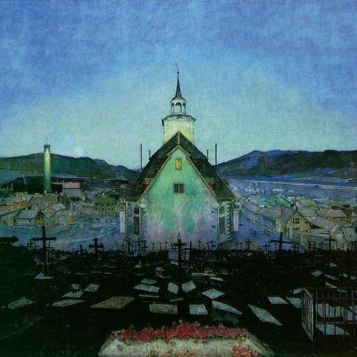Harald Sohlberg (norvegese, 1869-1934), Night (1904).Trondhjems Kunstforening, Trondheim  Sohlberg, pittore simbolista norvegese