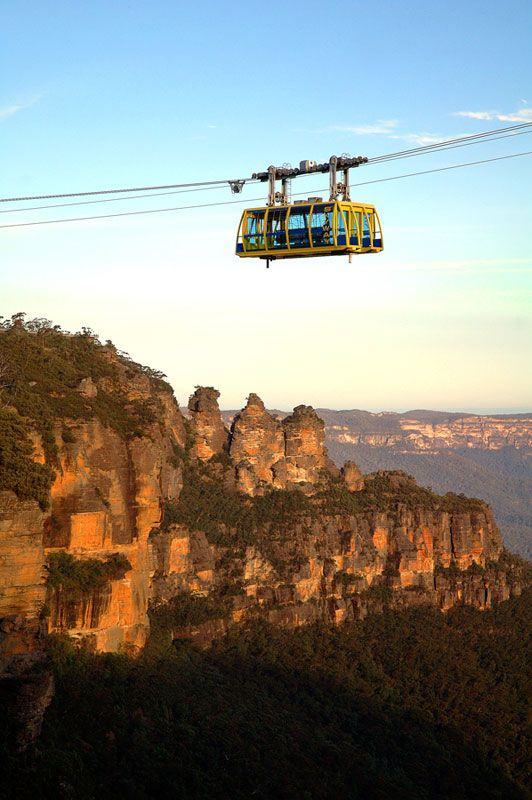 Scenic Skyway, Scenic World, Blue Mountains, near Sydney Australia.    The rock formations are the three sisters
