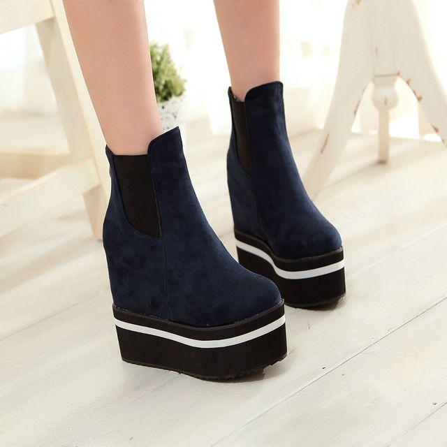 YMECHIC mode britannique style bref noir bleu casual plate-forme coins chaud épais troupeau court cheville femmes bottes chaussures femme