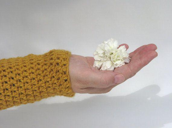 Crochet Wrist Warmers Fingerless Gloves Arm by AGirlNamedMariaDK #wrist #arm #warmer #warmers #glove #gloves #fingerless #mitten #mittens #mitts #wool #alpaca #crochet #crocheted #chunky #warm #yellow #mustard #ochre