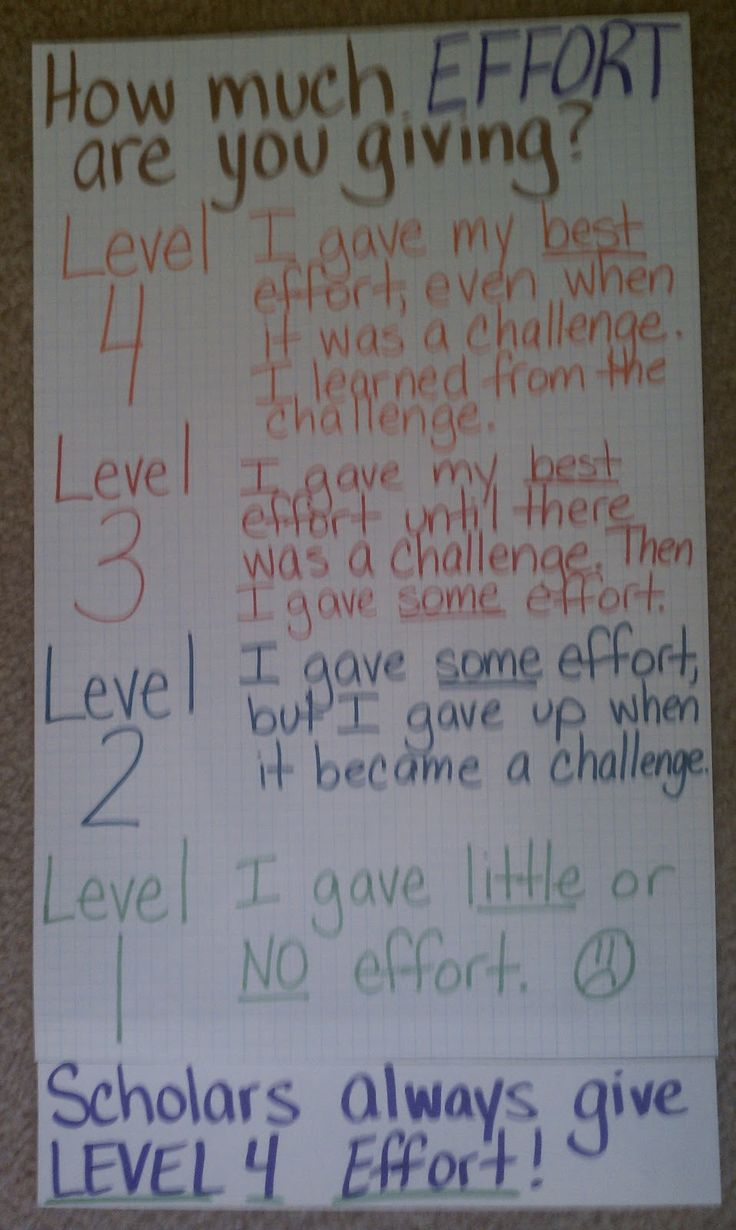 Rubric for the effort put into work. I love this!