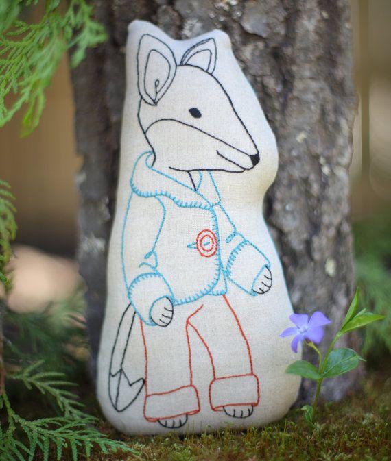 Felix Fox embroidered fox pattern - Stuffed Fox toy - Embroidered Fox pillow PDF, beginner embroidery pattern, DIY baby