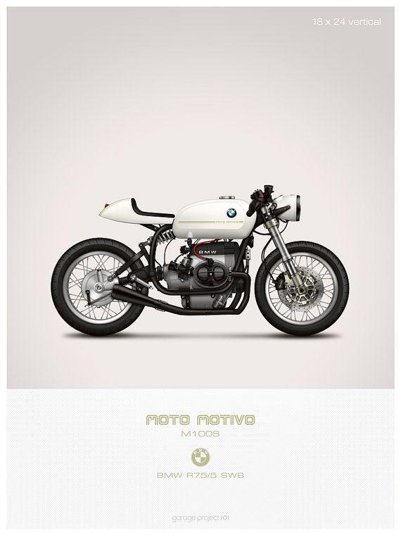 Motive de moto BMW R75/5 café racer moto illustration affiche, impression 18 x 24 pouces