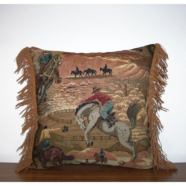 Western Pillow Sunset Cowboy Rodeo Tapestry Pillow Southwestern (€27) ❤ liked on Polyvore featuring home, home decor, decorative pillows, grey, home & living, home décor, cowboy home decor, grey home decor and gray home decor