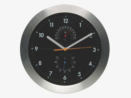 #ourHabitat WEATHER BLACKS Metal Silver wall clock with thermometer - HabitatUK   #ourHabitat