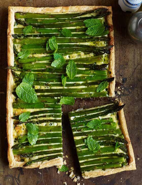 asparagus, spring onion + mint tart