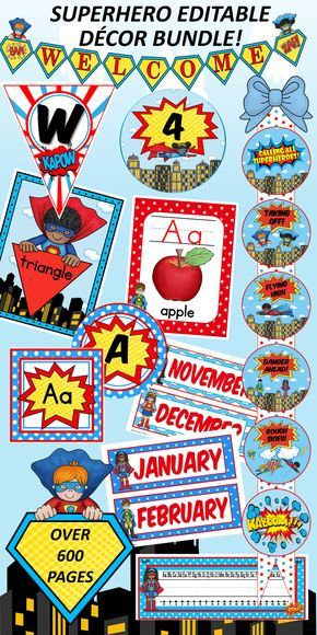 This editable Superhero Classroom Décor bundle has over 600 pages and 17 products! Everything I need to decorate my classroom and more!