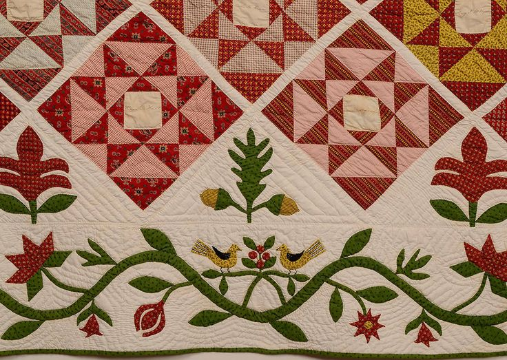 Friendship Quilt: Circa 1850; New Jersey - I really like this appliqué border!