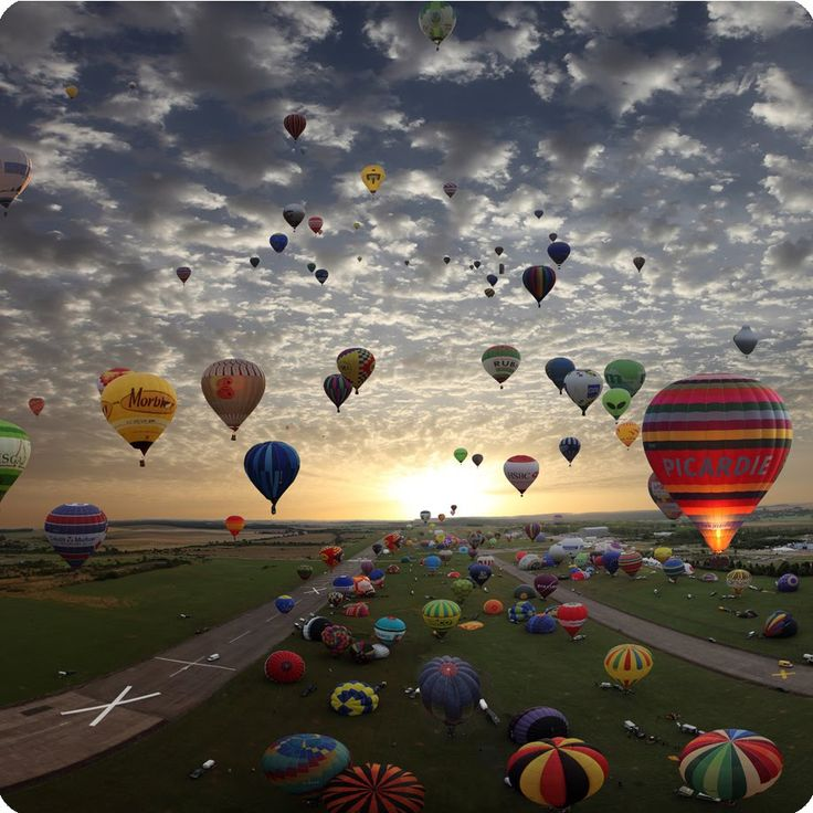 Up in a hot air balloon.