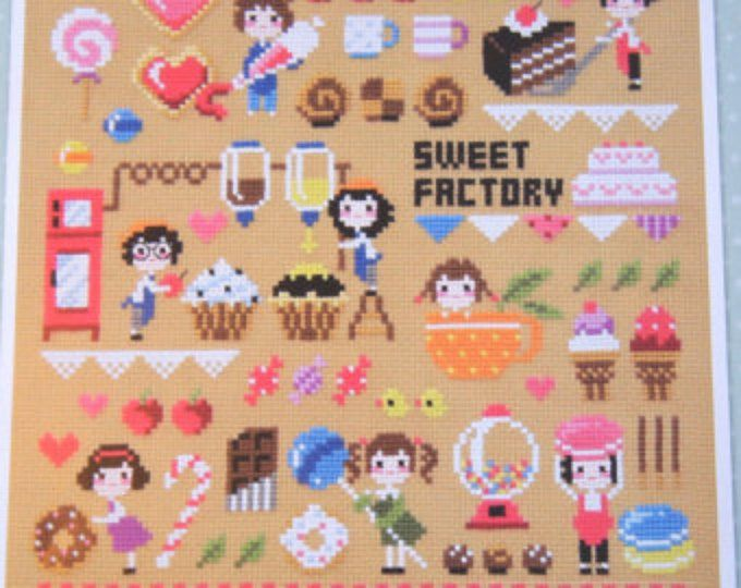 Patrones de punto de Cruz moderno y kits - fábrica de dulces motivos dulces, dulces motivos, samplers de caramelos, muestras de alimentos, punto de cruz contado