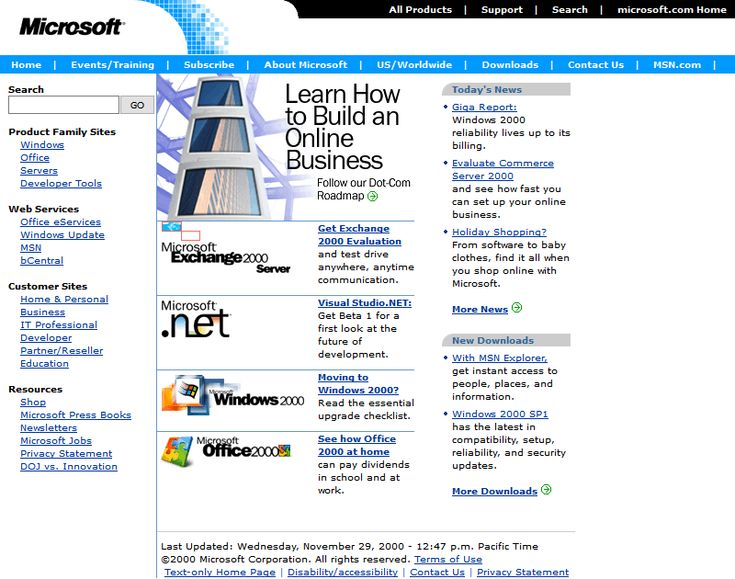 Microsoft website in 2000
