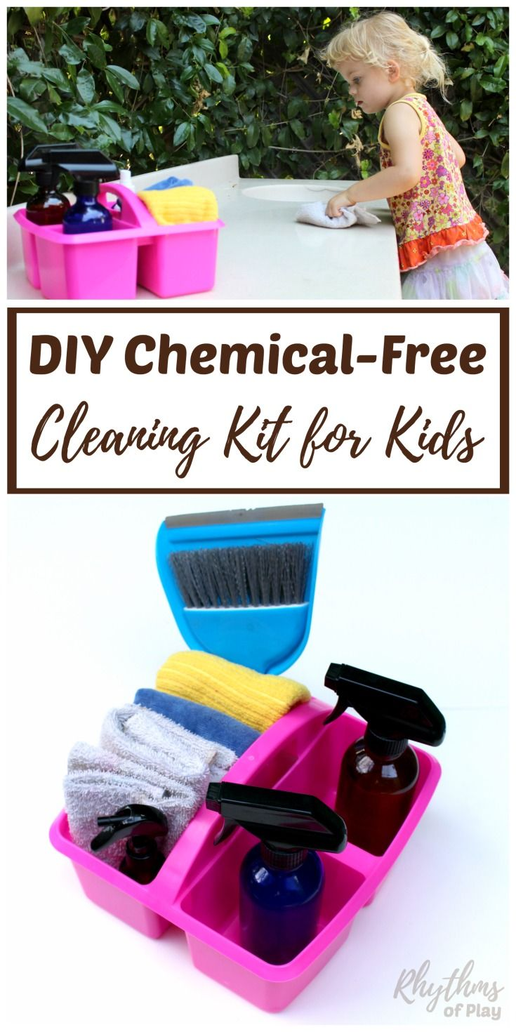Young children love to feel useful and want to help do chores around the house. Give your child a chemical-free cleaning kit to help with spring cleaning today! Kids Chores | DIY Cleaning Kit