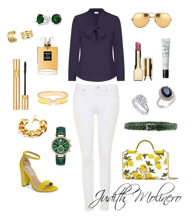 """Navy with limon"" by judith-molinero-fashion on Polyvore featuring Topshop, Dolce&Gabbana, Steve Madden, Hermès, Diesel, Bling Jewelry, MICHELA, Linda Farrow, Michael Kors and Chanel"