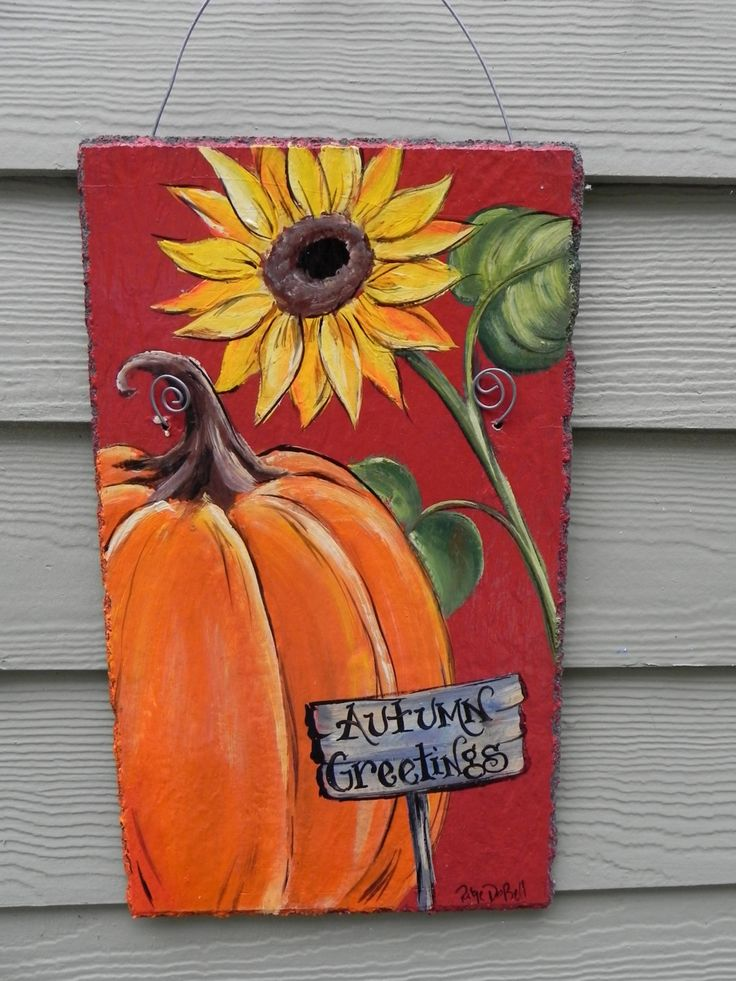 This beautifully painted Welcome sign measures approximately 9 x 15 and hangs by a sturdy wire. I used high quality acrylic paint for the design and finished with 3 layers of clear coat for years of lasting beauty outdoors.    This design has a beautiful orange pumpkin and a bright yellow sunflower painted on a dark red background.  Each of my signs are hand painted by myself and are my original design. READY TO SHIP! These slates were originally intended as roofing slates and as such come…