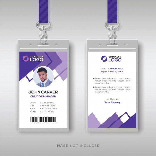 Abstract Purple Id Card Design Template Graphic Design Business Card Id Card Template Card Design