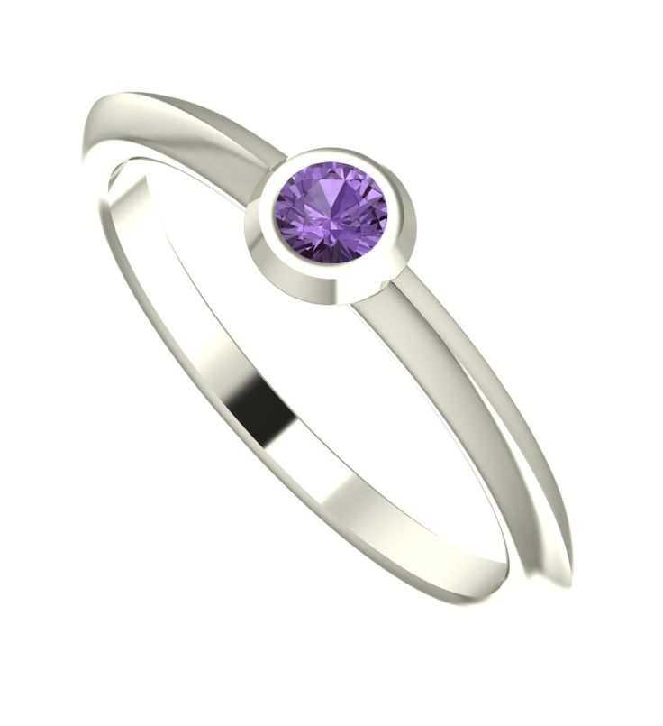 This modern and dainty white gold engagement ring will brighten up your day's, its contemporary band encapsulates a small but dazzling violet sapphire. The burnished setting contrasts the band of the ring making this a very unique and modern design.  #handmade #designer #engagement #rings #NudeJewellery #purple #sapphire