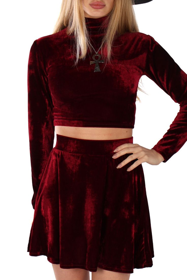 VELVET TURTLENECK CROP TOP IN GARNET BY VELVET CAVE - HANDMADE Soft stretch polyester velvet Cropped length Turtleneck collar Long sleeve - Also available in Onyx, Amethyst and Emerald - CLICK HERE FO