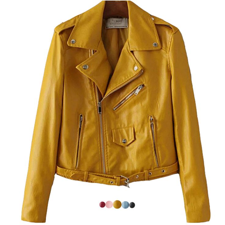 >> Click to Buy << 2017 New Fashion Cropped Female Leather Jacket Women Short Motorcycle Biker Jacket Plus Size Pink Blue Black Yellow #Affiliate