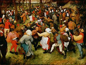 The Wedding Dance by Pieter Bruegel the Elder.  1566 At 47x62 inches--it's massive.  If you're ever in Detroit, it's worth visiting the DIA just to see.  And, hopefully it won't get sold off through Detroit's bankruptcy.  Pieter Bruegel de Oude - De bruiloft dans (Detroit).jpg