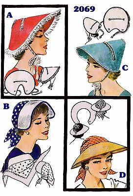 50s Millinary 4 Vint SUNBONNET VISOR HAT Fabric Material Sewing Sew Pattern 2069