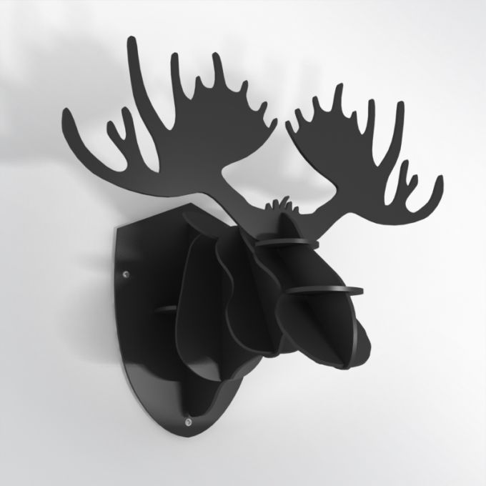 PVC Hunting Trophy - Black Moose Antlers. Made from PVC foam, cnc cutted. Also available in baltic birch plywood. Designed and made in Québec, by dezz.xyz.