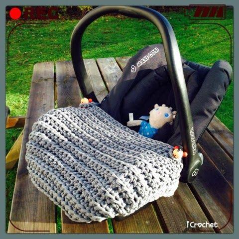 iCrochetstuff: Maxi-cosi zpagetti voetenzak haken met patroon! Crochet pattern