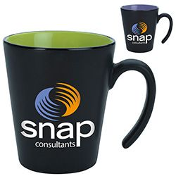 These mugs are so cool! The contrasting color and funky handle make them a unique, functional promo item.