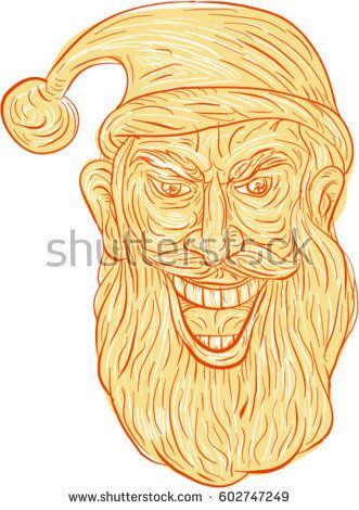 Drawing sketch style illustration of an evil looking, sinister and devilish santa claus with a wide grin viewed from front set on isolated white background.  #santaclaus #drawing #illustration
