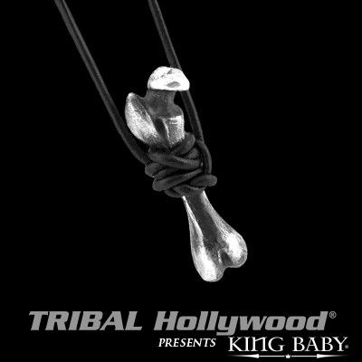 SKELETON BONE Sterling Silver Mens Pendant Necklace by King Baby