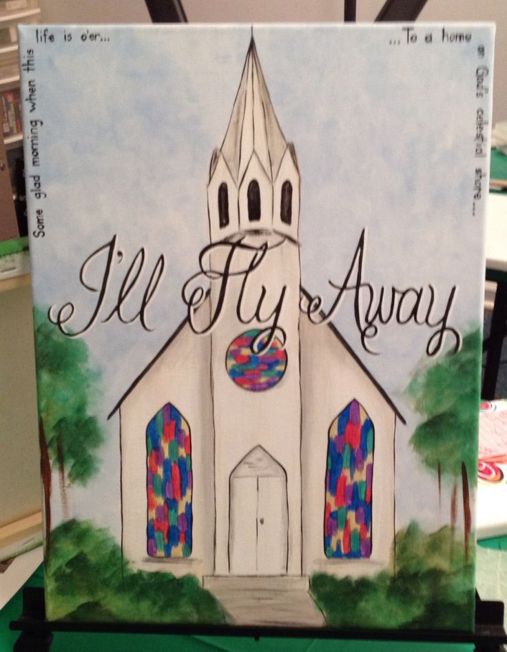 I 39 ll fly away canvas ideas pinterest paintings for Church mural ideas