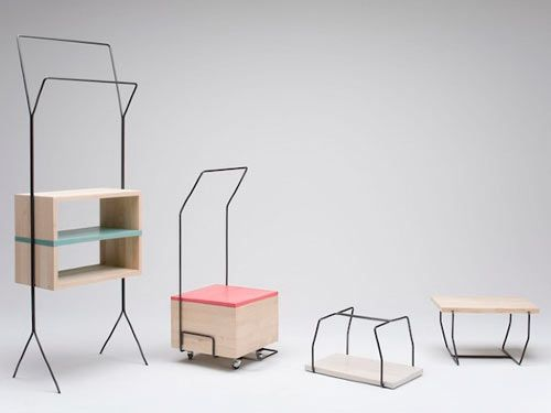 """The Maisonnette (meaning """"small house"""" in French) series is practical, quirky, and just downright fun. The collection of mobile storage pieces was designed by Italian designer Simone Simonelli to fulfill a need of multipurpose furniture with a modern look. Each stylish piece is made from varnished solid alder wood and iron rods and is perfect for small dwellings.: Design Milk, Frames Furniture, Furniture Accessoires, House, Furniture Design, Furnitures Interiors, Clothing Hangers, Multipurpose Furniture, Multifunct Furniture"""