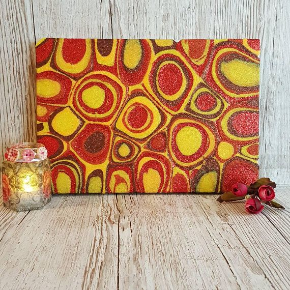 Orange, Red and Yellow Glitter Painting Mixed Media Original Abstract Artwork