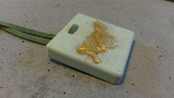 Gold mint pendant Mint jewelry Mint necklace by BibeJewelry