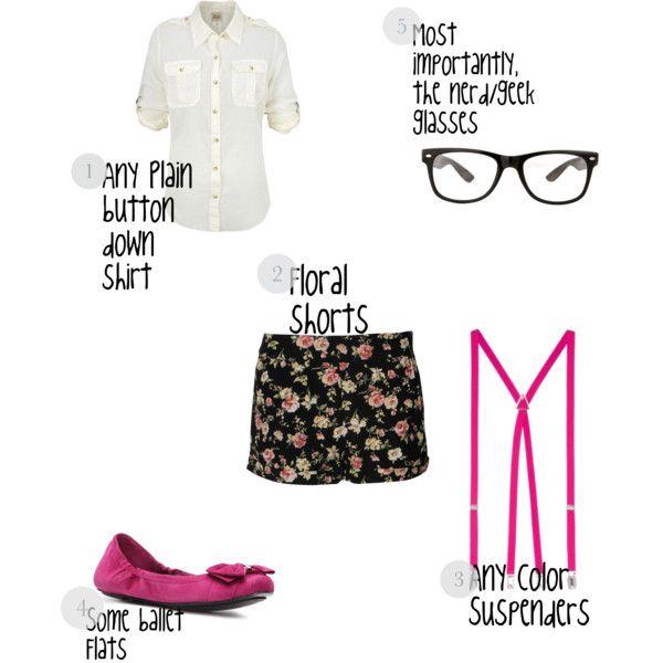(Halloween DIY Costume): Girly, cute nerd/geek, created by keanihough on Polyvore