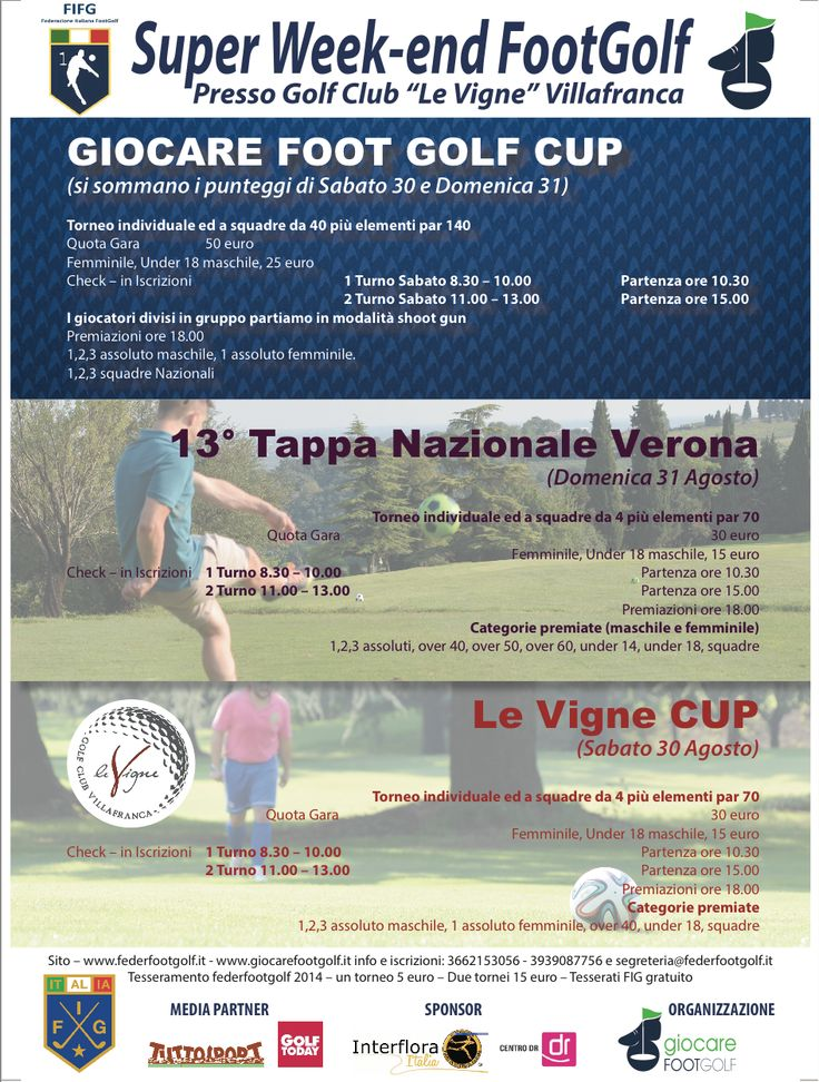 Super week-end #Footgolf a Verona (30/31 ago) 13° Tappa Nazionale del Campionato Italiano http://www.federfootgolf.it/super-week-end-footgolf-a-verona-3031-ago-con-tappa-nazionale/