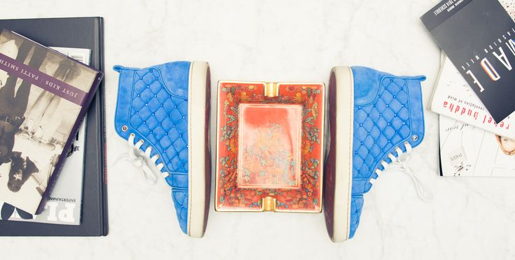 Pumped-up kicks. http://www.thecoveteur.com/aleali-may/Quilt Blue, Fab Fashion, Blue Sneak, Storage Room, Christian Louboutin, Fashion Sneak, Sole Mates, Pumped Up Kicks, Glorious Shoes
