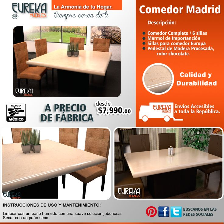 Comedor Madrid http://www.eurekamuebles.com.mx/catalogsearch/result/?q=comedor+madrid