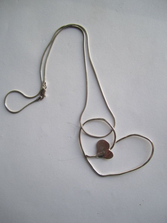 Sterling Silver 925 Heart ./. Snake Chain by BijouxEmmElle on Etsy