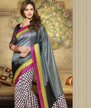 Brijraj Isha Deol, Black Gray Bhagalpuri Silk Printed Saree With Unstitch Blouse | I found an amazing deal at fashionandyou.com and I bet you'll love it too. Check it out!