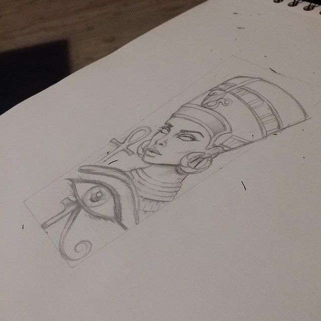 Queen Nefertiti,tattoo design.