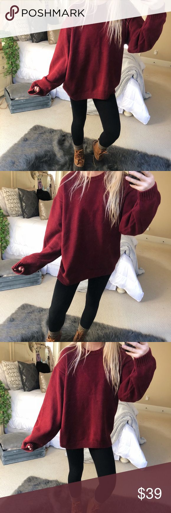 chunky burgundy knit super cozy and gorgeous chunky burgundy knit sweater! fits a size M/L 🌲🍂✨ — * all offers 100% welcomed + encouraged * bundle for a private discount of at least 20% off  * orders guaranteed to ship within 1-2 days unless stated otherwise * ask me any questions if you ever have any! xo Sweaters