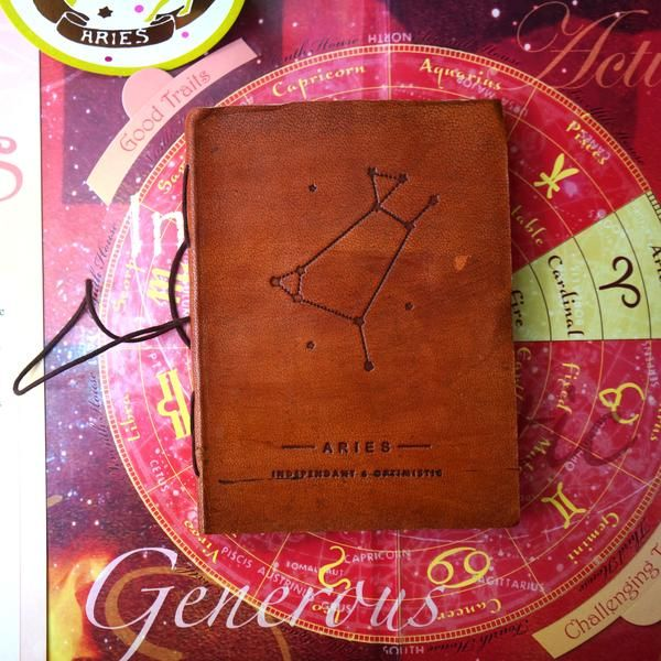 Aries Leather Journal / Zodiac Handmade Journal / Journal of Astrology / Horoscope Journal / Gifts for Him / Travel Journal / Sketchbook / Embossed Genuine Leather Journal / Notebook