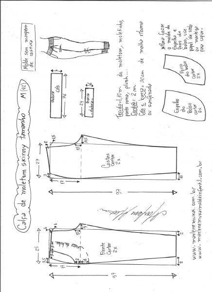 Esquema de modelagem de calça de moletom skinny M.