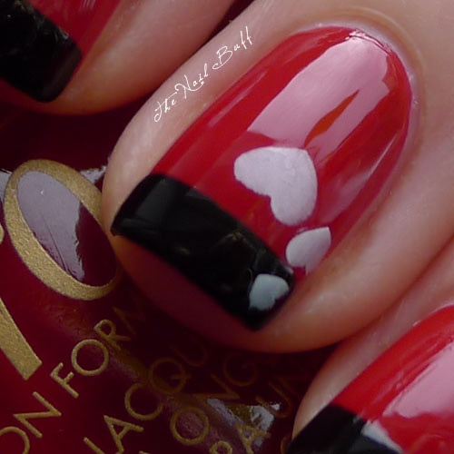 Nail Polish Style: Valentine's Day French Mani. Red. Hearts. Black. Orly