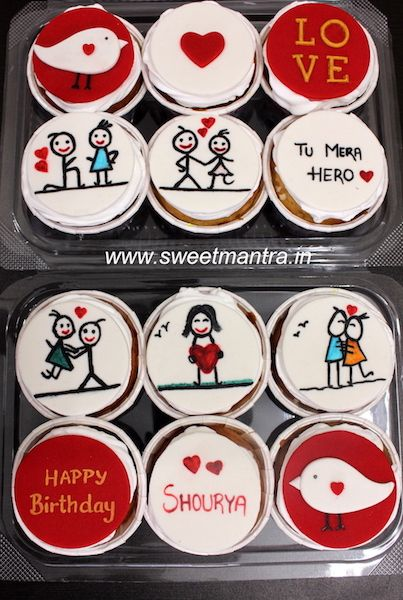 Love theme customized designer fondant couple cartoon cupcakes for husband's birthday at Pune