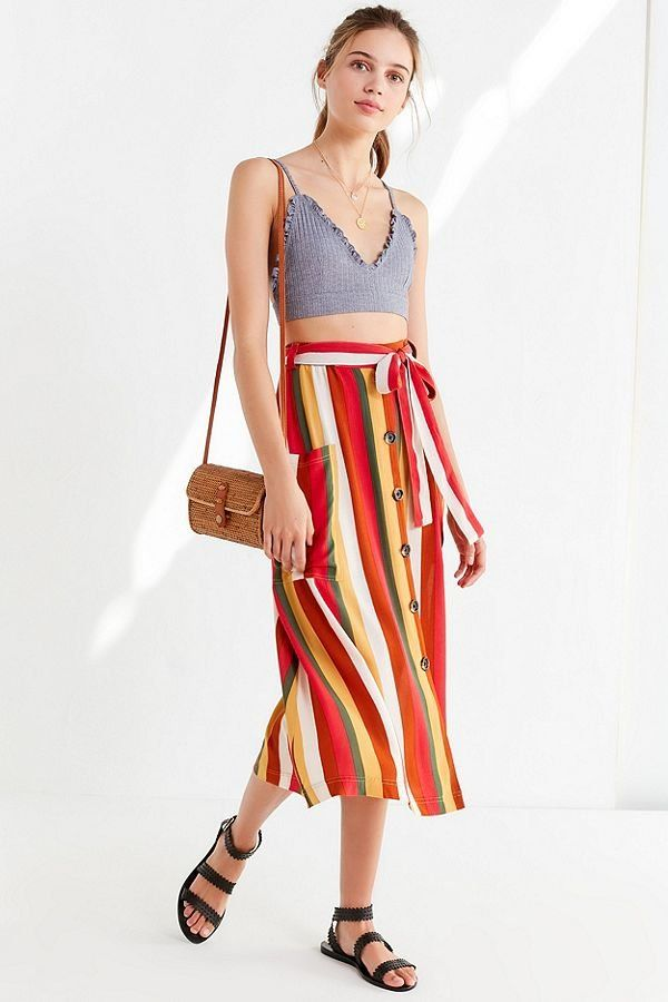 17223a3a4 UO Striped Belted Midi Skirt | New Arrivals | Skirts, Midi Skirt ...