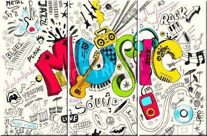 Leinwandbild Schriftzug Musik im Doodle Style (3-teilig)