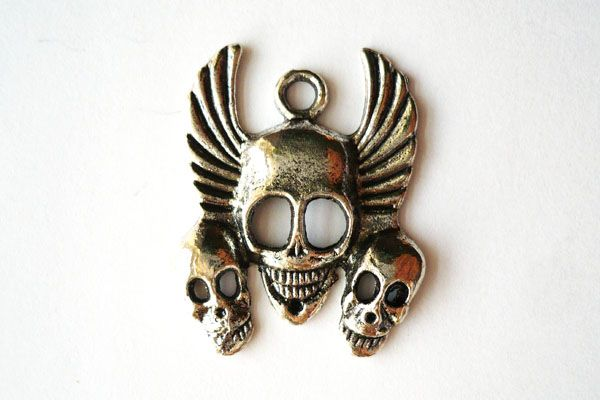 Winged Skulls Charm - Antique Silver $0.75CAD #craftdeville #skulls #charm