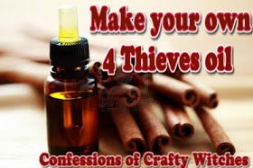 History and recipes for Four Theives oil, Four Theives Vinegar and other applications. Plus a brief description of the benefits of the individual components.
